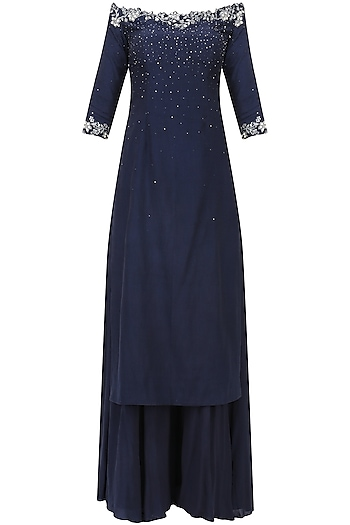 Navy Blue Crystal and Sequins Embellished Kurta and Sharara Set by Pooja Peshoria