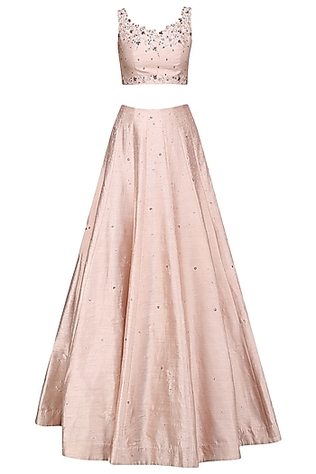 Soft Peach Crystal and Beads Embellished Lehenga Set by Pooja Peshoria