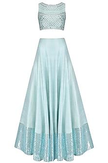 Aquamarine Blue Embellished Crop Top and Skirt Set by Pooja Peshoria