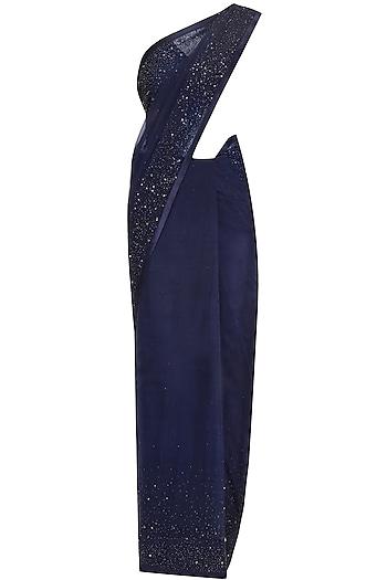 Navy Blue Crystal Work Saree and Drape Blouse Set by Pooja Peshoria