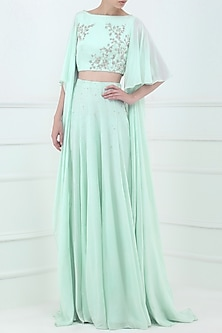 Pastel Blue Embroidered Crop Top with Lehenga Skirt by Pooja Peshoria