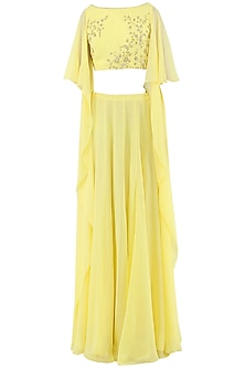 Lemon Yellow Embroidered Crop Top with Lehenga Skirt by Pooja Peshoria