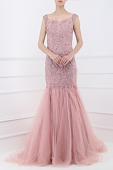 Deep Rose Embroidered Mermaid Cut Gown by Pooja Peshoria
