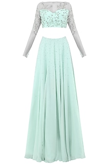 Pastel Blue Sheer Embroidered Crop Top with Lehenga Skirt by Pooja Peshoria