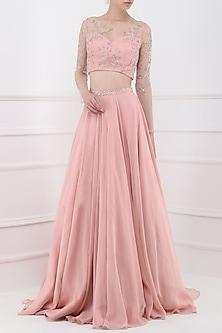 Deep Rose Sheer Embroidered Crop Top with Lehenga Skirt by Pooja Peshoria