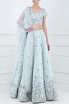 Pastel Blue Embroidered Lehenga Set by Pooja Peshoria