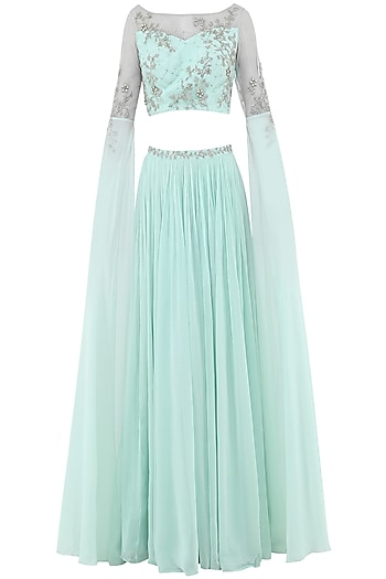 Pastel Blue Embroidered Cape Sleeves Crop Top with Lehenga Skirt by Pooja Peshoria