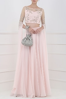 Pastel Pink Embroidered Cape Sleeves Crop Top with Lehenga Skirt by Pooja Peshoria