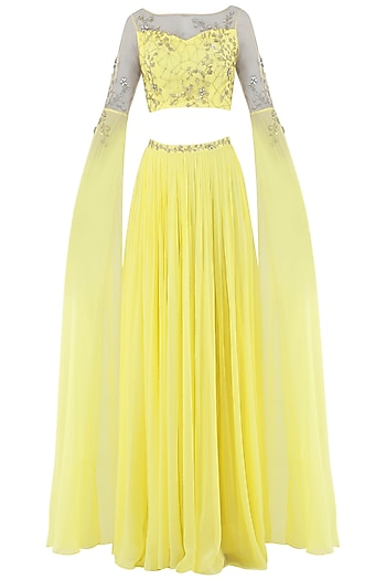 Lemon Yellow Embroidered Cape Sleeves Crop Top with Lehenga Skirt by Pooja Peshoria