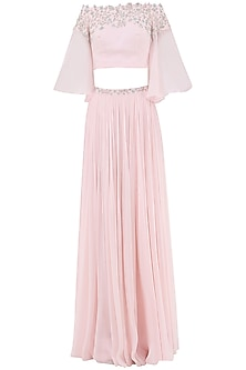 Pastel Pink Embroidered Flared Sleeves Crop Top with Lehenga Skirt by Pooja Peshoria