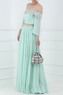 Pastel Blue Embroidered Flared Sleeves Crop Top with Lehenga Skirt by Pooja Peshoria