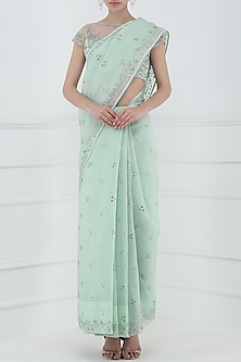 Pastel Blue Embroidered Saree with Blouse by Pooja Peshoria