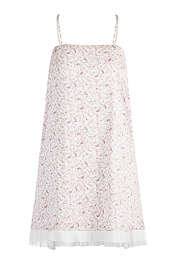 Beige Paisley Printed Mini Dress by Pernia Qureshi