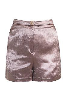 Bronze High-Rise Short Pants by Pernia Qureshi