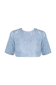 Blue Feathered Crop Top by Pernia Qureshi