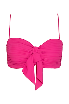 Hot Pink Ruched Bralette by Pernia Qureshi
