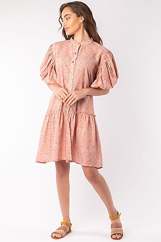 Beige Layered Dress With Balloon Sleeves by Platform 9
