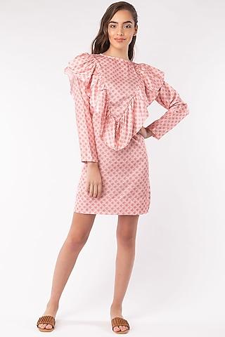 Peach V-Ruffled Yoke Dress by Platform 9