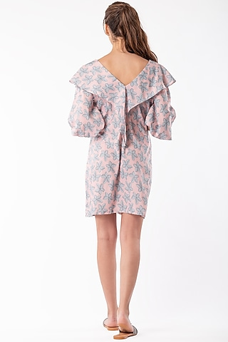 Blush Pink Dress With Bell Sleeves by Platform 9
