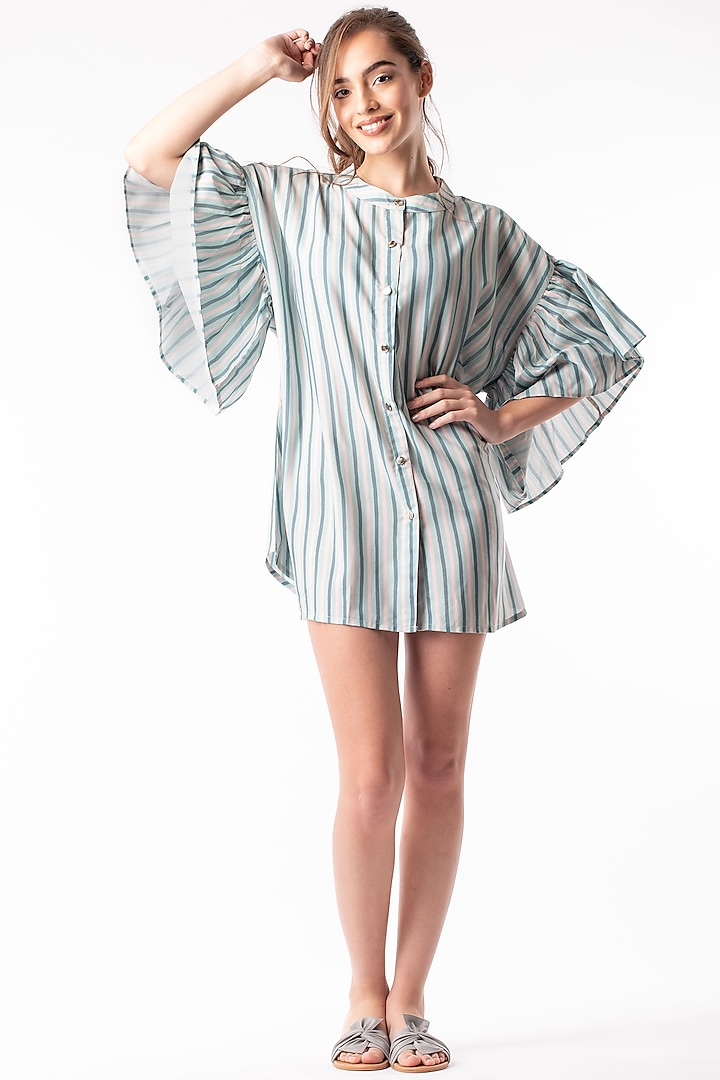 Mint Green Tunic With Frilled Sleeves by Platform 9