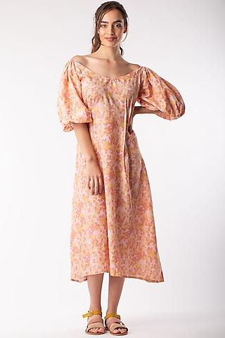 Beige Midi Dress With Elasticated Shoulders by Platform 9