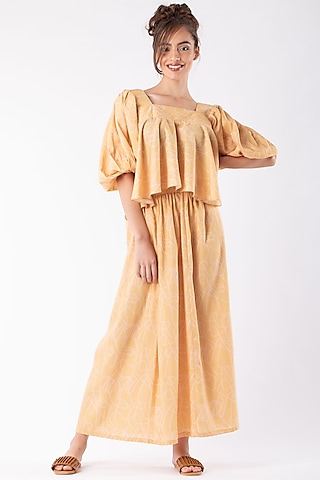 Yellow Cotton Polyester Skirt Set by Platform 9