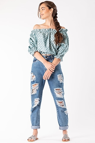 Mint Green Smocked Cropped Top by Platform 9