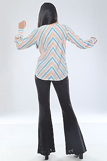 Turquoise Pleated & Striped Top by Platform 9