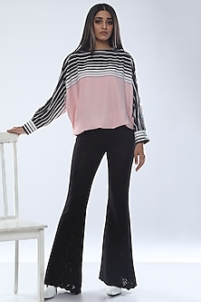 Blush Pink Printed Top With Boat Neck by Platform 9