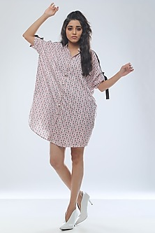 Blush Pink Printed Oversize Shirt Dress by Platform 9