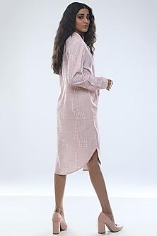 Blush Pink & Off White Printed Shirt Dress by Platform 9