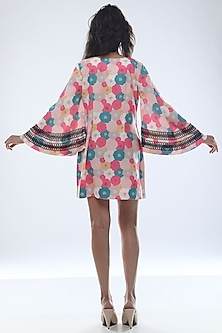 Fuchsia Printed Mini Dress With Bell Sleeves by Platform 9
