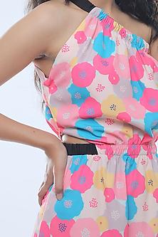 Fuchsia Printed One Shoulder Midi Dress by Platform 9