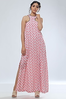 Red Floral Printed Maxi Dress by Platform 9