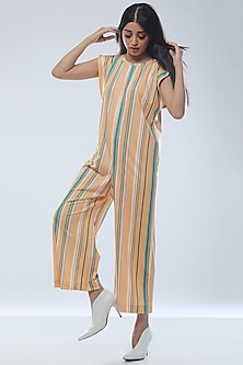 Yellow Printed Striped Jumpsuit by Platform 9