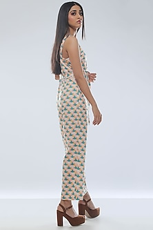 Yellow Printed Strappy Jumpsuit With Belt by Platform 9