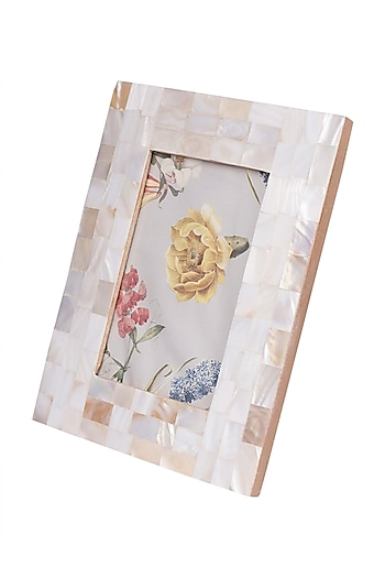 White Mother Of Pearl Rectangular Photo Frame by The Pitara Project