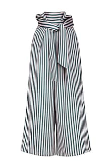A Millenial Pink Striped High Waisted Trousers In Dutch Satin by Platform 9