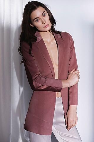 Sandtone Peach Suiting Blazer by Priyanka Gangwal