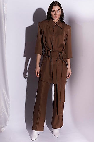 Brown Button Down Shirt With Side Slits by Priyanka Gangwal