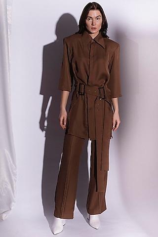 Brown Straight Fit Pant by Priyanka Gangwal