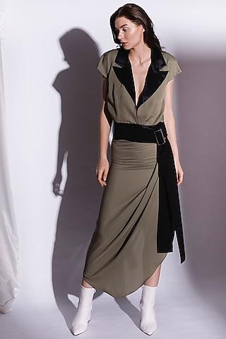 Green Belted Asymmetrical Dress by Priyanka Gangwal