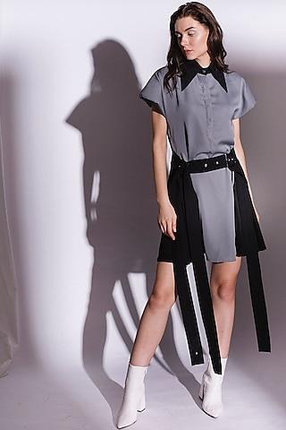 Grey Mini Dress With Princess Details by Priyanka Gangwal