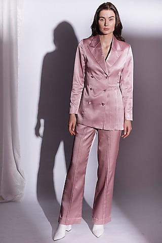 Blush Pink Double Breasted Blazer by Priyanka Gangwal
