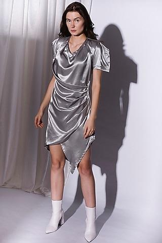 Silver Draped Dress With Wrap by Priyanka Gangwal