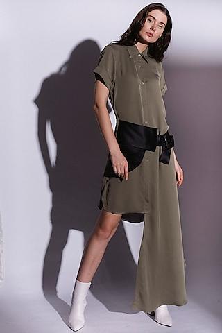 Green High-Low Shirt Dress by Priyanka Gangwal