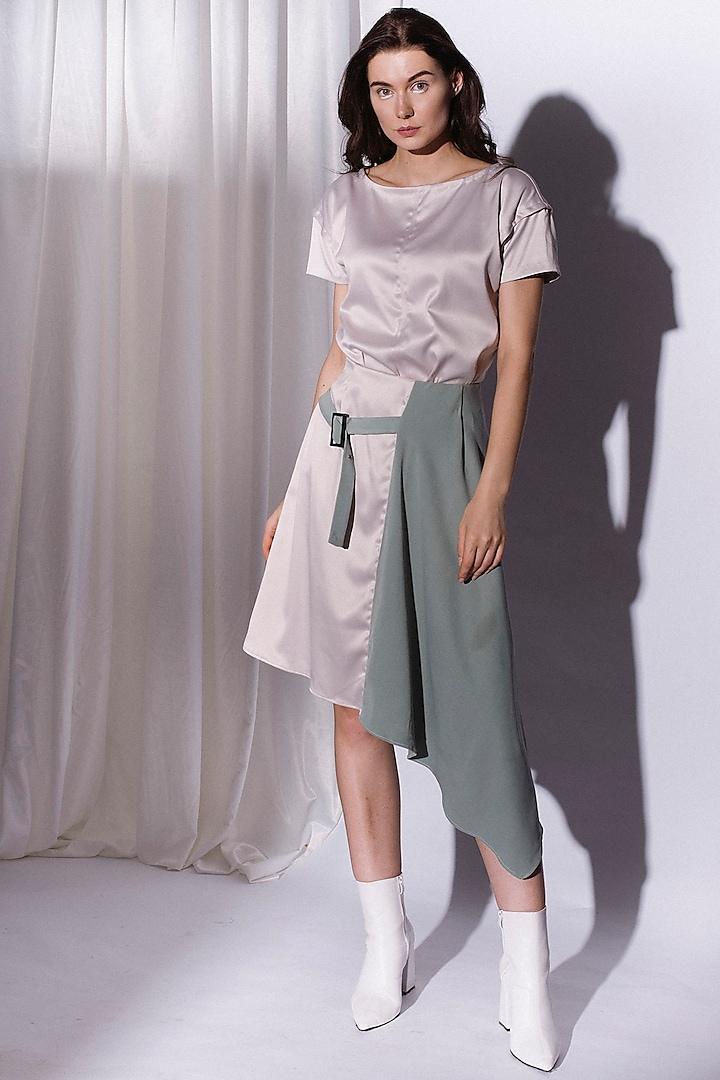 Eggshell White Paneled Skirt by Priyanka Gangwal