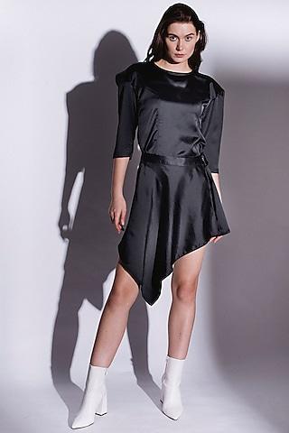 Black Mini Dress With Drop Power Shoulder by Priyanka Gangwal