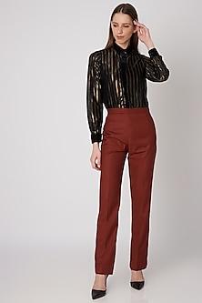 Burnt Orange Formal Trousers by Priyanka Gangwal