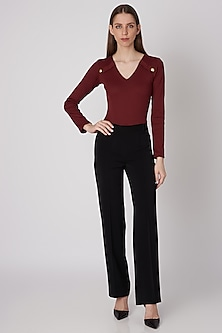 Wine Ribbed Bodysuit With Shoulder Flaps by Priyanka Gangwal
